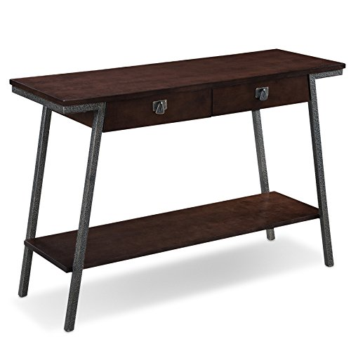 Leick 11433 Empiria Modern Industrial Two Drawer Sofa Table – Walnut