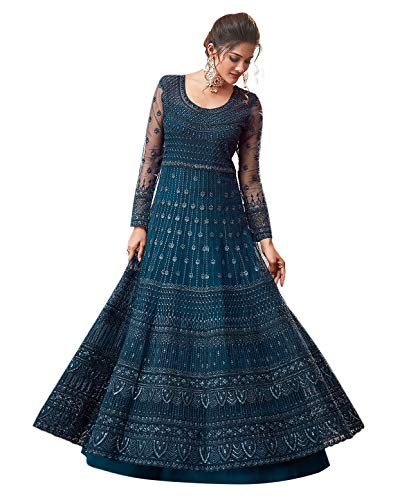 Prime Empire Net With Soft Silk Inner Semi-Stitched Designer Gown for women