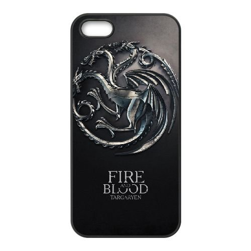 Game Of Thrones 002 coque iPhone 5 5S cellulaire cas coque de téléphone cas téléphone cellulaire noir couvercle EOKXLLNCD23804