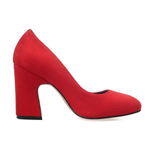 AllhqFashion Womens Pull on Square Closed Toe High Heels Imitated Suede Solid Pumps-Shoes Red pMJ2aagwY