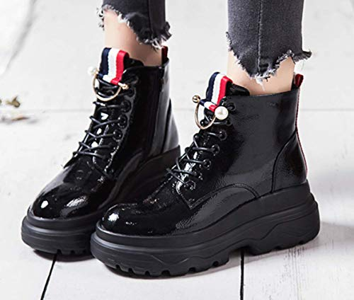 Style New In Pelle British Short bottom Femminile Boots 2018 Verniciata Thick Martin Scarpe Shiney Black Women's 4FycRCC