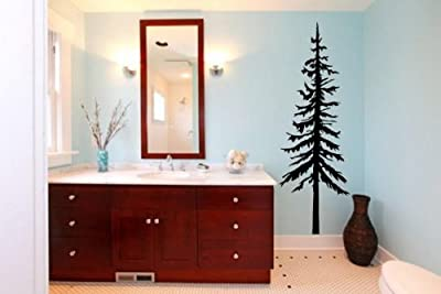 """Wild Pine Tree Wall Sticker (Small: 30cm x 90cm / 12"""" x 36"""")"""