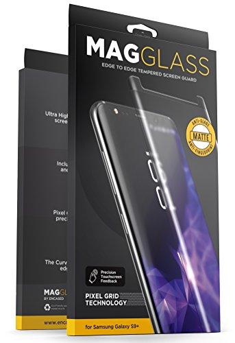 - Samsung Galaxy S9 Plus Matte Screen Protector - Curved Fingerprint Free Tempered Glass (MagGlass XM90) Reinforced Anti Glare Screen Guard (Includes Precision applicator)
