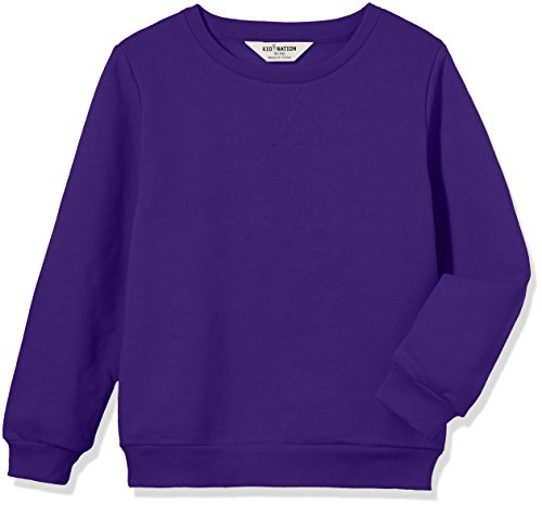 Kid Nation Kids' Slouchy Solid Brushed Fleece Sweatshirt for Boys or Girls XL Purple