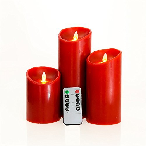 10 Keys Remote Ready Moving Wick Flame Red Wax LED Flameless Candles for Home Window Decoration (3.2 X 5''&7''&9'') by NONNO&ZGF
