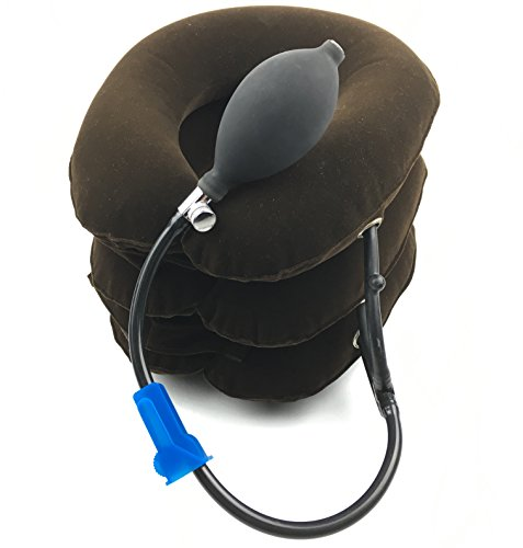 Premium Cervical Neck Traction Device for Head & Shoulder Pain - Inflatable Neck Pillow / Cervical Traction Pillow w/ High Quality Metal Accent Connectors - Built to Last! #1 Doctor Recommended by UPC Medical Supplies