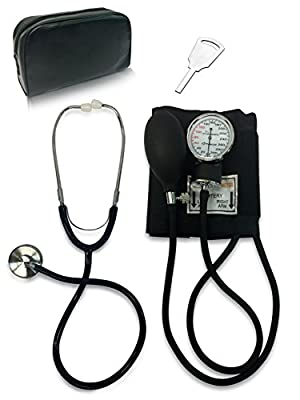 Primacare DS-9197-BK Classic Series Adult Blood Pressure Kit, Black with Stethoscope