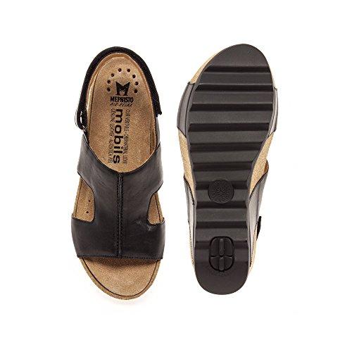 7900 schwarzem Damensandale Fußfundament Schwarz aus 572 Xenia Mephisto Leder Women pqHtqv
