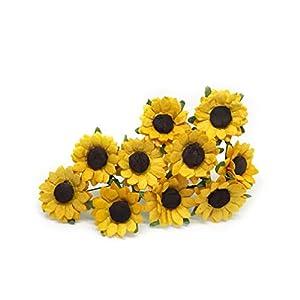 2cm Mulberry Paper Sunflowers Paper Flowers Floral Crown Flowers DIY Wedding Decor DIY Paper Bouquet Artificial Flowers Wedding Crafts Home Decorations Baby Shower Decor, 25 Pieces 100