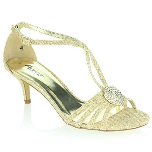 Mujer Señoras Broche de Cristal Correa Diamante Delgado Tacón Medio Noche Fiesta Boda Paseo Sandalias Zapatos Talla Oro