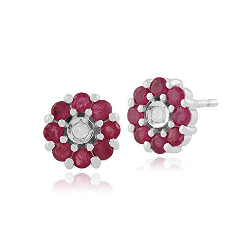 Gemondo Bague Rubis Or Blanc 9Carats Boucles d'oreilles, boucles d'oreilles clous 0,67Ct Rubis & Diamant Floral