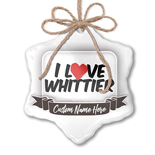 Hanging Whittier - NEONBLOND Create Your Ornament I Love Whittier Personalized