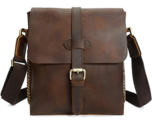 Bolso Viaje al Mensajero Hombre SHOUTIBAO brown Mano Bolso Cuero Brown Resistente Retro Durable Casual de Dark de Desgaste Compras del 1R470w