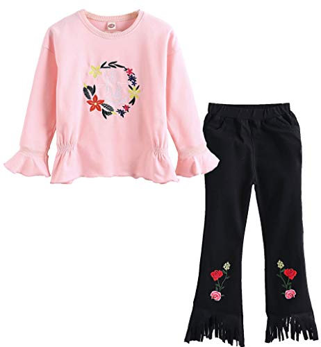 2 Pink Outfit Piece (M RACLE Cute Little Girls' 2 Pieces Long Sleeve Top Pants Leggings Clothes Set Outfit (3-4 Years, Flower Pink))