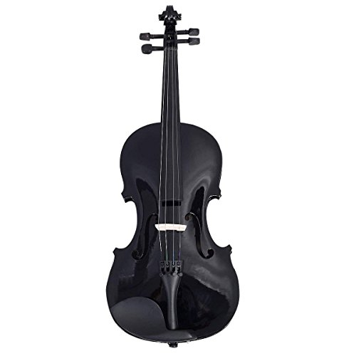 Goplus 4/4 Full Size Acoustic Violin Durable Natural Solid Wood Fiddle for Beginners and Students w/Case, Bow and Rosin (Black) by Goplus