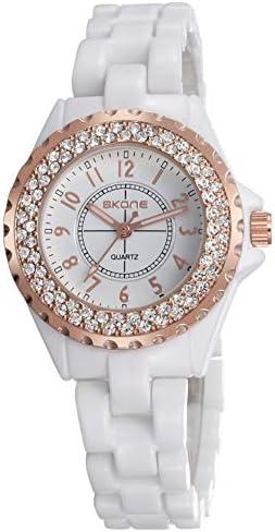 Ladies luxury wrist watch Fashion rhinestone white ceramic watch Casual lady Beautiful dress watches