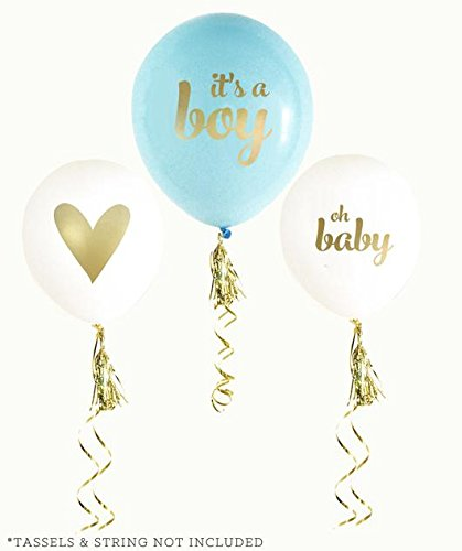 Balloon Crafts Gold Boy Baby Shower Balloons (set of 3) –white and blue Oh Baby, It's a Boy- Baby Announcement, Gender Reveal Party, Birthday (Blue And Gold Baby Shower)