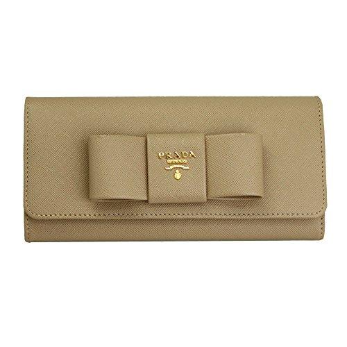 Prada Fiocco Beige Saffiano Leather Long Wallet 1M1132 Cammeo