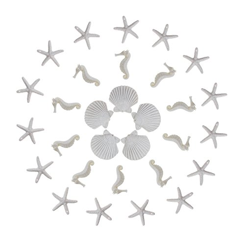 30 Pieces Resin Pencil Finger White Starfish Seahorse Seashells Assorted with Pre-Drilled Hole for Crafts Home Wedding Decor