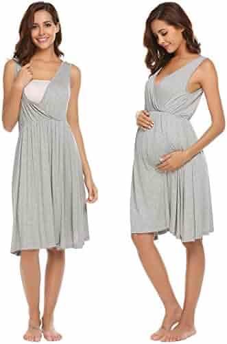 Ekouaer Women s Maternity Nursing Nightgown Ruched Wrap Long Sleeve Sleep  Dress 835aa3df5