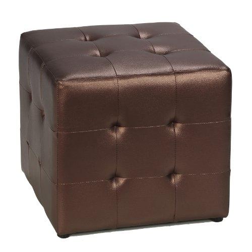 [Cortesi Home Apollo Cube Ottoman, Metallic Brown] (Pottery Barn Leather Ottoman)