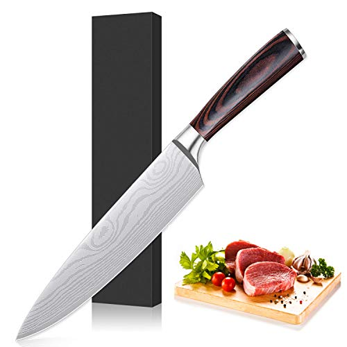 (Benjoy Chef Knife, 8 Inches Professional High Carbon Stainless Steel Kitchen Knife, Ergonomic Handle, Sharp Durable Knife for Home Kitchen and Professionals)