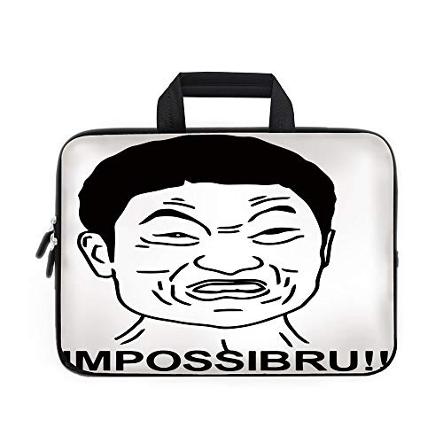 Humor Decor Laptop Carrying Bag Sleeve,Neoprene Sleeve Case/Funny Impossibru Quote with Angry Asian Guy Meme Sarcasm Web Chat Design/for Apple MacBook Air Samsung Google Acer HP DELL Lenovo AsusBlack