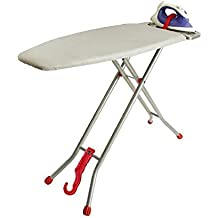 """Ironmatik Space Saving Ironing Board - 44"""" X 15"""" Usage Area (Board Lenght 35"""") - Adjustable Height, Easy Storage, Wrinkle-Free Top with Three Layers, Red"""