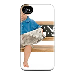 Cynthaskey Iphone 4/4s Well-designed Hard Case Cover Baby Read Newspapers Protector