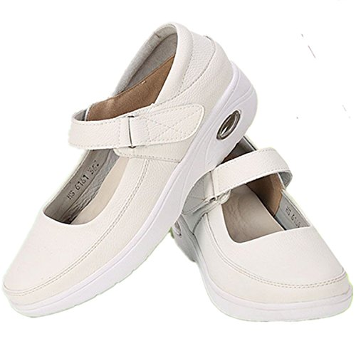 YINHAN Womens Shoes Lightweight Mary Jane Sandal Nurse Shoes Work Shoes White US 10(EU 42) (Nursing White Shoes Jane Mary)