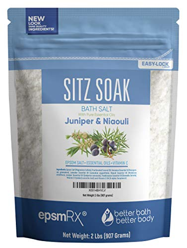 Sitz Bath Soak 32oz (2-Lbs) Epsom Salt With Niaouli, Geranium, Lavender, Frankincense, Juniper Essential Oils & Vitamin C Crystals - All Natural Hemorrhoid Relief
