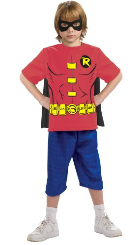 Robin Kids Costumes Kit (Superhero Shirt - Medium)