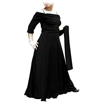 Evanese Women's Plus Size Formal Long Evening Dress 3/4 Sleeves and Side Flare 1X. Black