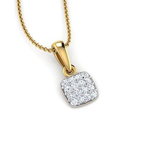 18K Or Blanc 0,05CT TW Round-cut-diamond (IJ | SI) Pendentif