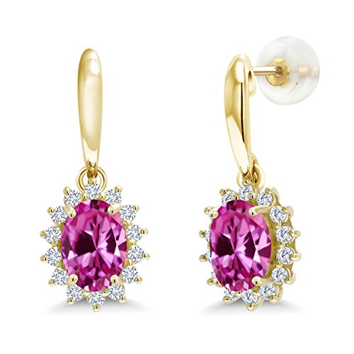 (Gem Stone King 2.05 Ct Pink Created Sapphire I/J Lab Grown Diamond 10K Yellow Gold Earrings)