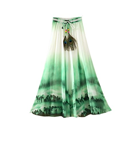 Eleter Girl's Chiffon Skirt Long Skirt (Green) (FBA) (Green Floral Skirt)