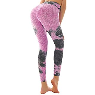 Women's Booty Yoga Pants High Waisted Leggings Butt Lift Leggings for Gym Workout Running, Purple - L