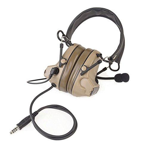 IRON JIA'S Hunting Headset Shooting Tactical Earmuffs Aviation headphone Noise Canceling Hearing Protection NATO plug (Desert)