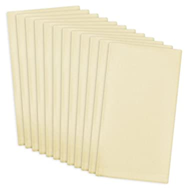 DII 100% Cotton, Machine Washable Everyday Basic Buffet Napkin, 16 x 16 , Cream, Set of 12