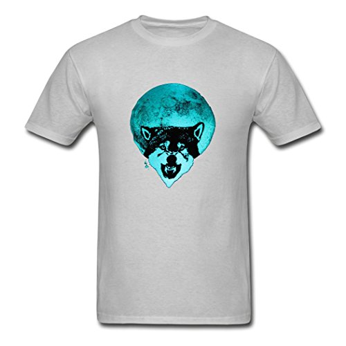 NYStore Soft Men's Full Moon Wolf Glow T-Shirts (Glow In The Dark Eye Contacts)