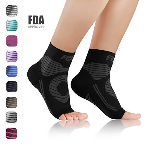 FEATOL Plantar Fasciitis Socks with Arch Ankle Support Compression Socks ((1 Pair) Black, X-Large)