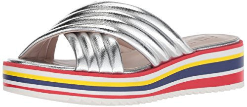 (Nine West Women's ZONITA Synthetic Flat Sandal Silver 12 M US)