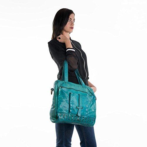 Borsa donna in pelle lavata a tracolla con borchie e manici DUDU Black Slate
