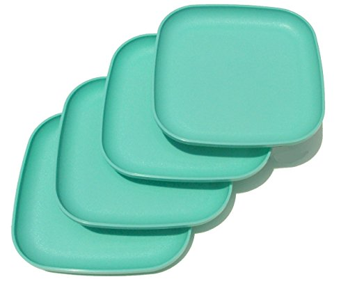 Tupperware Square 8 Inch Luncheon Plates Mint Green Set of 4