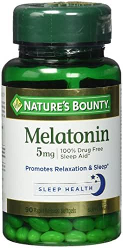 Nature's Bounty, Melatonin 5 mg Maximum Strength Soft gels, 90 ct