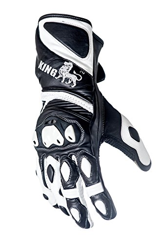 Biker Leather Goods - Protect the King Astro Premium Leather Gauntlet Motorcycle Sport Biker Gloves (XXX-Large)