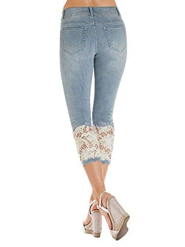 Jeans 4 Pantalons Leggings Slim Skinny Haute Casual Femme Crayon Dentelle Capri Jeans 3 Collant Rtro Bleu Taille Pants Pantalon ShallGood qOp0w8