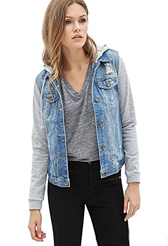 Hoodies Jeans - HOLDWELL Women's Short Denim Jacket with Drawstring Hood Color Grey Size L