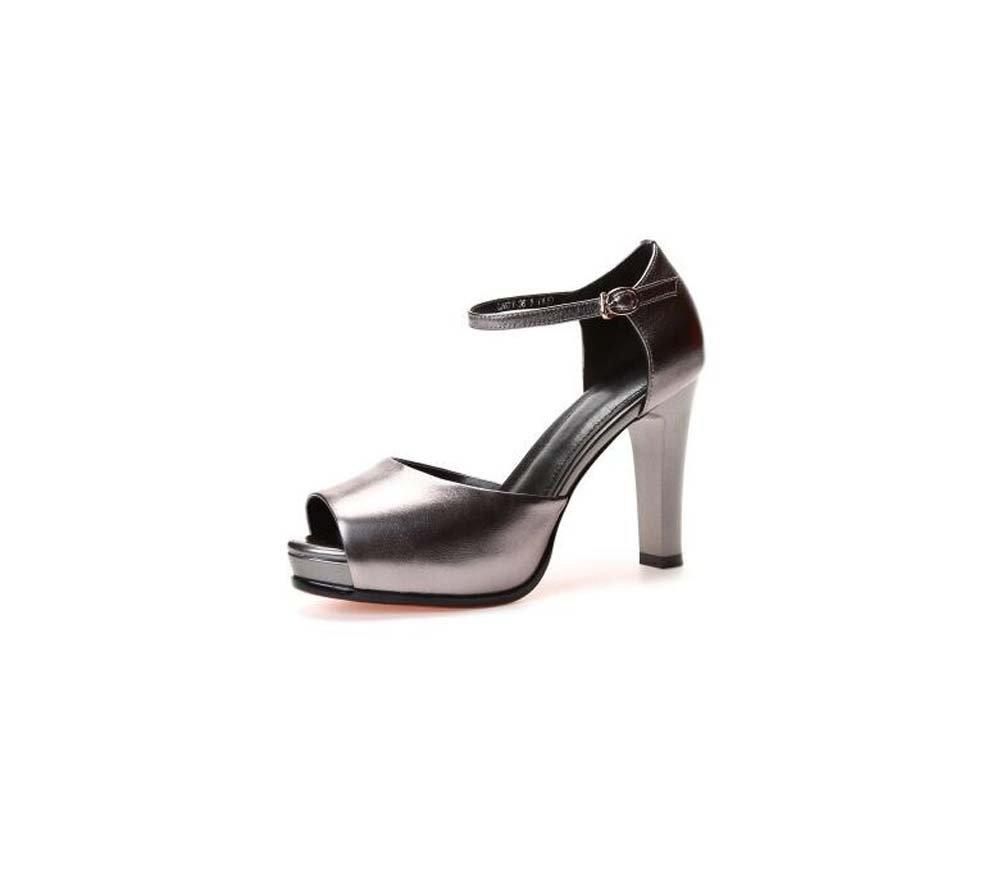 SHINIK Piattaforma scarpe da donna con tacchi alti in in alti pelle primavera ed estate nuovi sandali con fibbia Word Colore : Grigio, Dimensione : 38) Grigio 288065