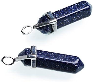1 x Blu Pietra DOro 8 x 38mm Pendente - Bacchetta CB26310 - Charming Beads